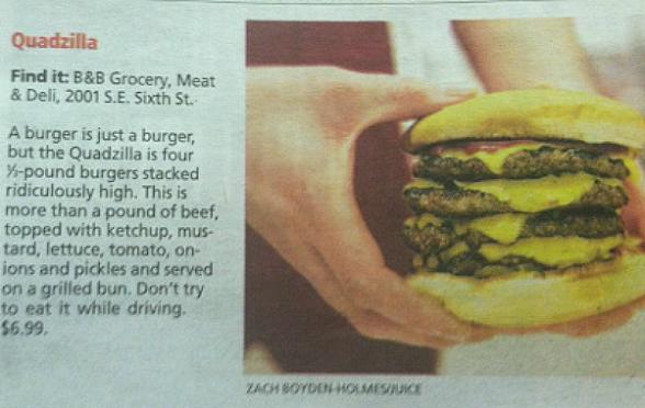 Des Moines Quadzilla Cheeseburger